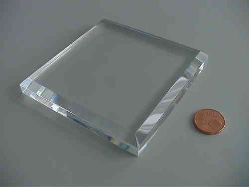 solid acrylic block withe beveled edges 80x80x10mm/ socle en verre