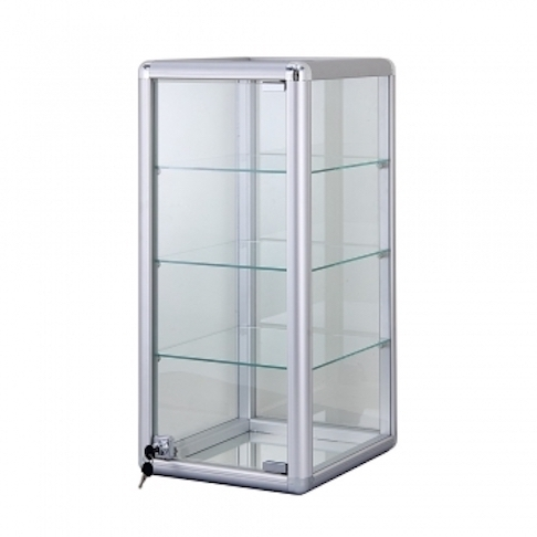 Small display case made of tempered glass / aluminum; Petite vitrine en verre trempé / aluminium